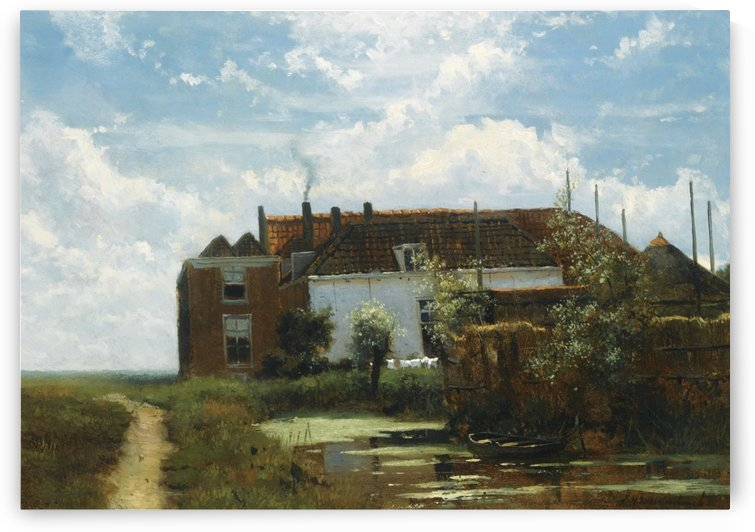 A farm along a canal in a polder landscape by Jan Hendrik Weissenbruch