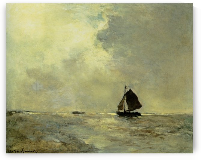 Sailing boat in choppy seas by Jan Hendrik Weissenbruch