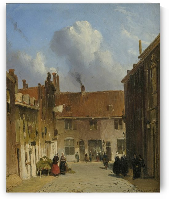 Cityscape with many figures by Jan Hendrik Weissenbruch