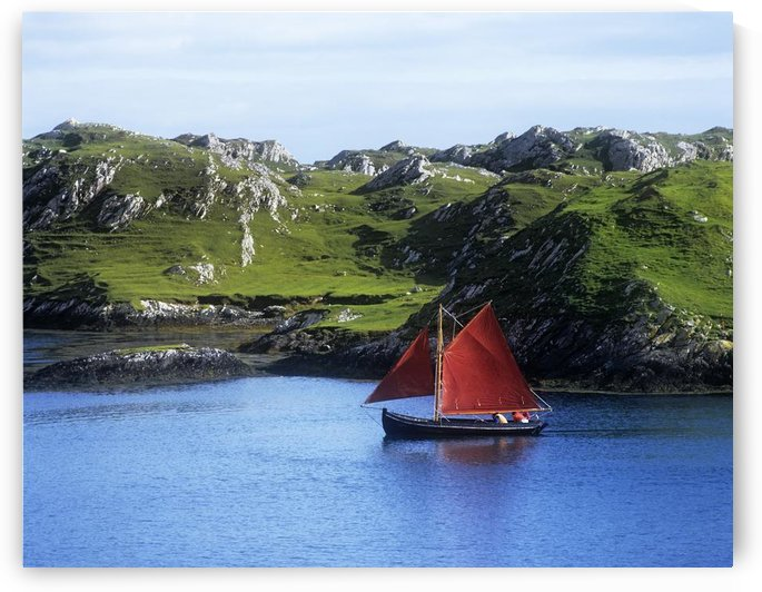 Boat In The Sea, Galway Hooker, County Galway, Republic Of Ireland by PacificStock
