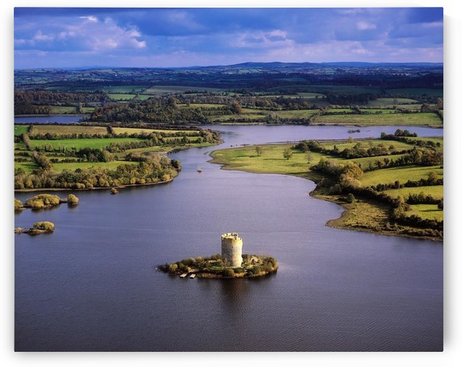 Cloughoughter Castle, Co Cavan, Ireland; Aerial View Of Lough Oughter And 13Th Century Castle Built On The Possible Site Of A Crannog by PacificStock