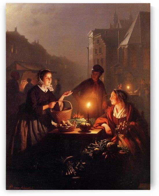 A moonlit vegetable market by Petrus van Schendel