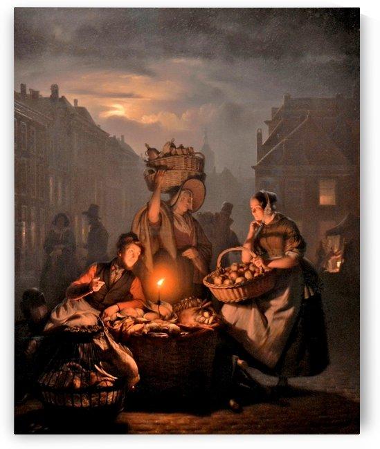 Market scene by night by Petrus van Schendel