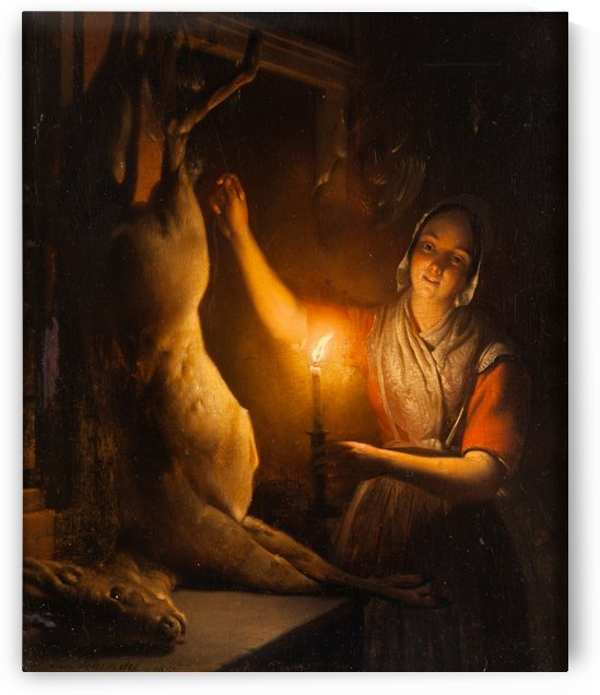 Deer seller at candle light by Petrus van Schendel