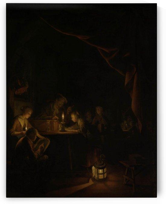 Nocturn figures reading by Petrus van Schendel
