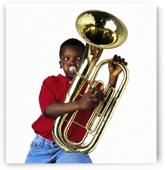 Child Playing Baritone by PacificStock