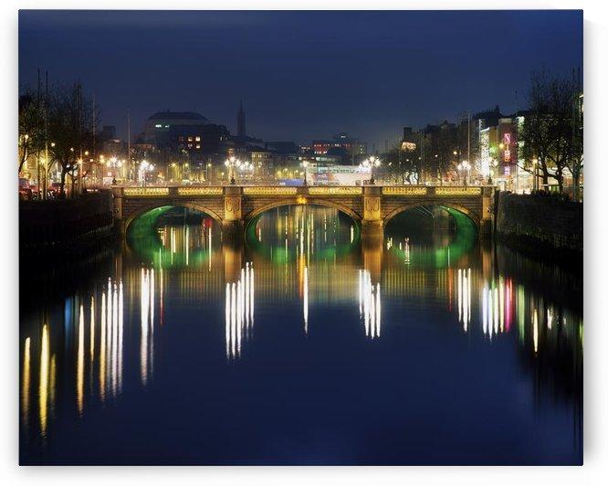 River Liffey At Night, O'connell Street Bridge, Dublin, Ireland by PacificStock