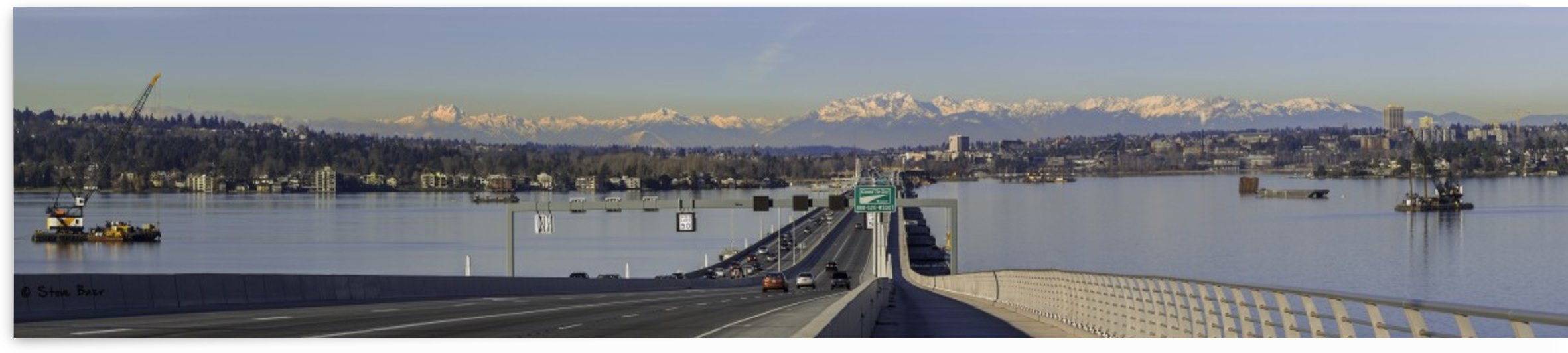Seattle Floating 520 Bridge and Mountains by Steve