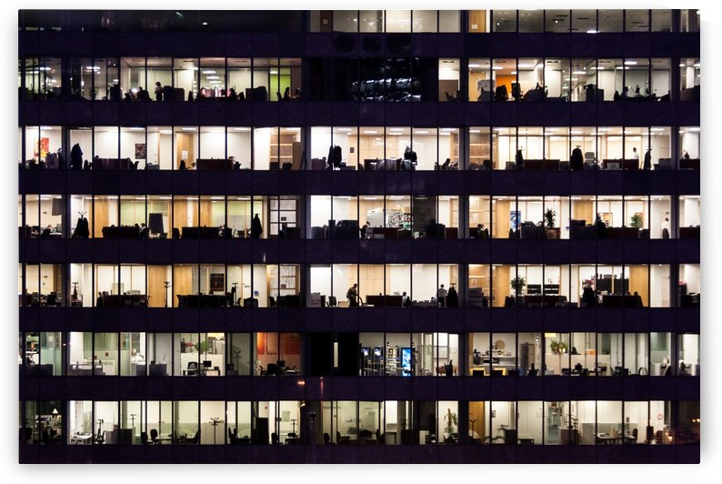Office Life - Working late the life behind the window glass by Pixelme ca