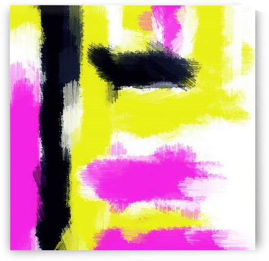 pink yellow and black painting abstract with white background by TimmyLA