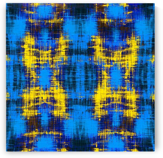 geometric plaid pattern painting abstract in blue yellow and black by TimmyLA
