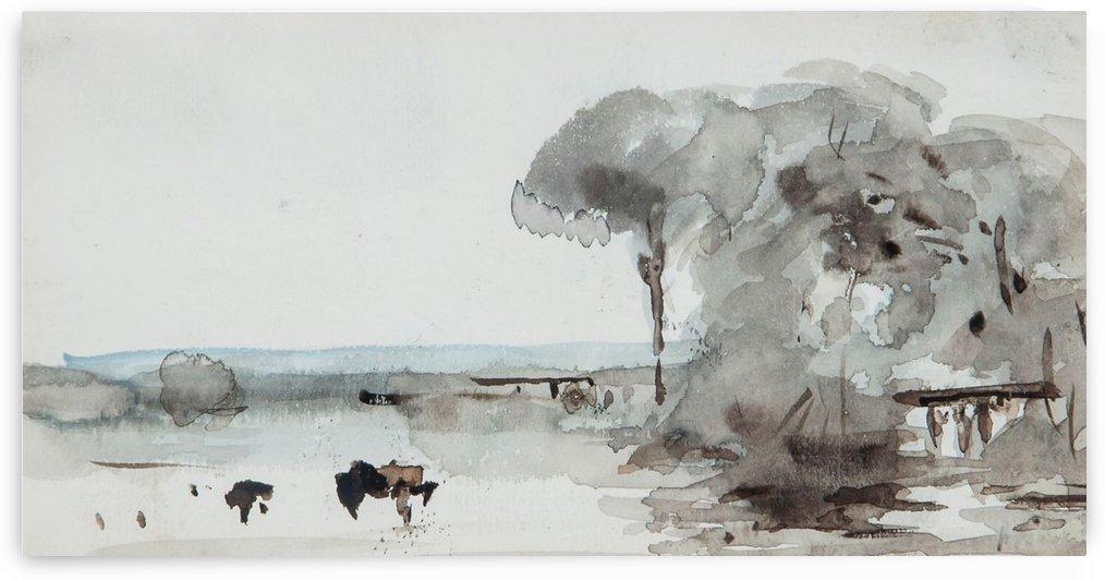 Cattle in a meadow by Hercules Brabazon Brabazon