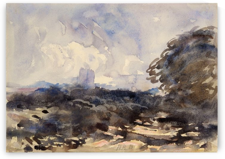 View of a landscape with castle in the back by Hercules Brabazon Brabazon