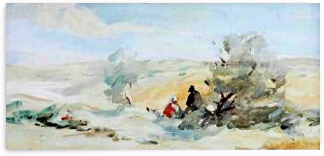 Figures in landscape by Hercules Brabazon Brabazon