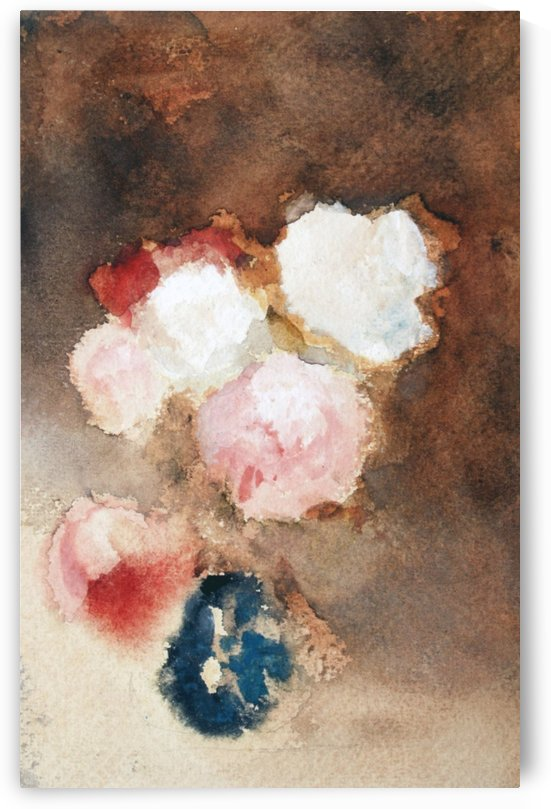 Flowers in a blue and white China vase by Hercules Brabazon Brabazon