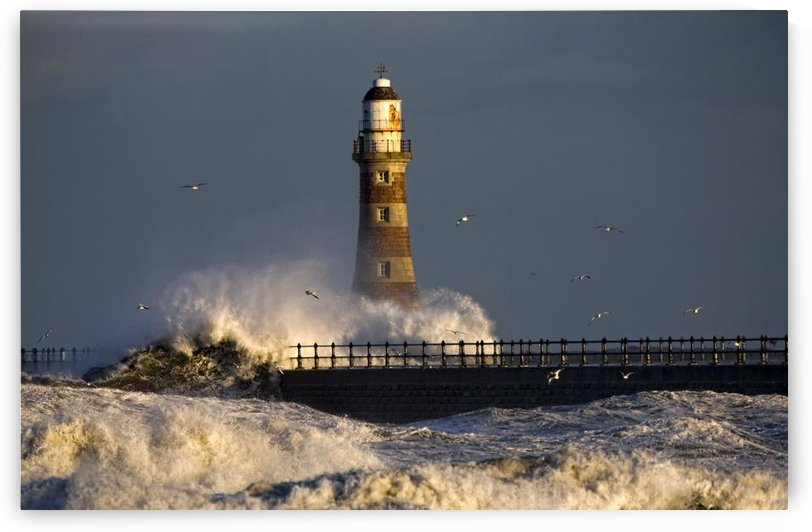Lighthouse And Waves, Sunderland, Tyne And Wear, England by PacificStock