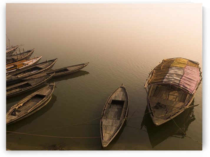 Boats In The Water, Varanasi, India by PacificStock