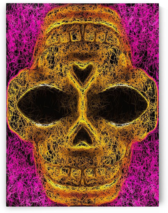 psychedelic geometric painting golden skull head portrait with pink background by TimmyLA
