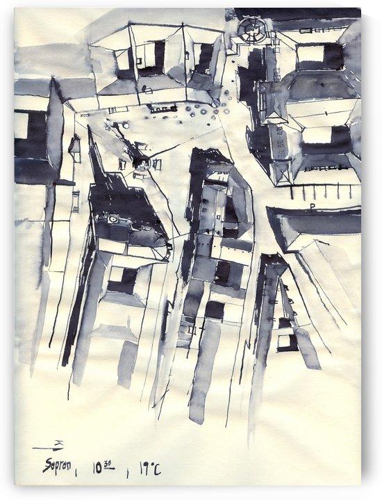Architectural view in birdeye Indian ink by ArtofCaelia