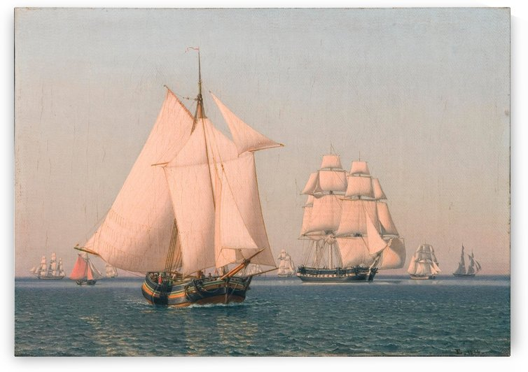 Ships under sail in mild breeze on clear summer afternoon by Christoffer Wilhelm Eckersberg
