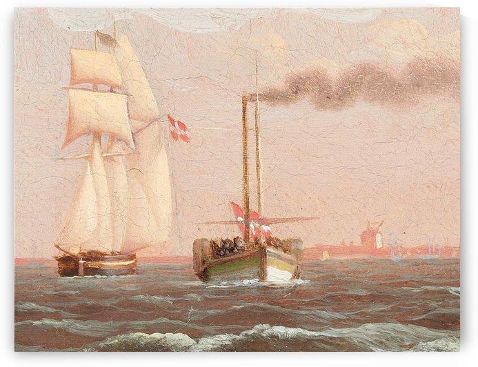 Danish paddle steamer by Christoffer Wilhelm Eckersberg