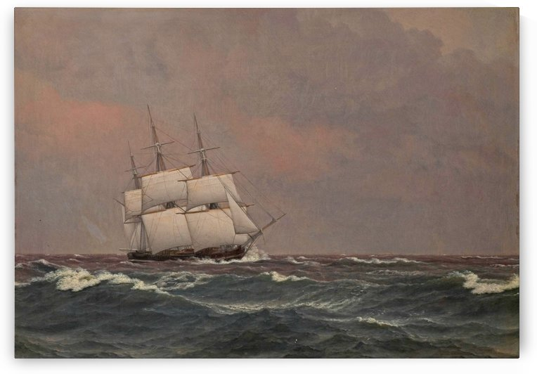 The corvette Najaden in rough seas by Christoffer Wilhelm Eckersberg