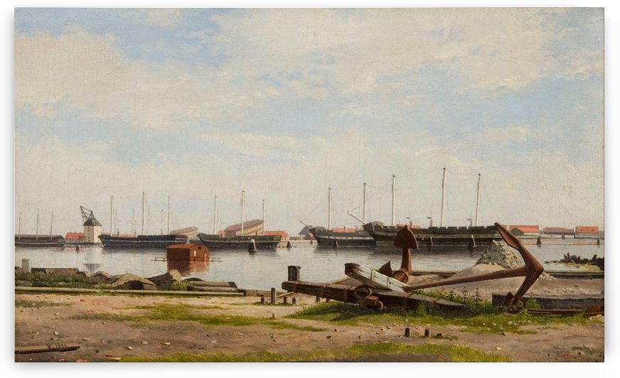 View of the wharf at Nyholm with the crane and some warships by Christoffer Wilhelm Eckersberg