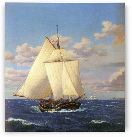 Two boats sailing near the coast by Christoffer Wilhelm Eckersberg