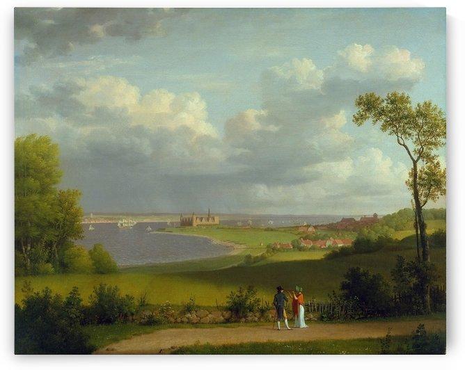 View north of Kronborg Castle by Christoffer Wilhelm Eckersberg