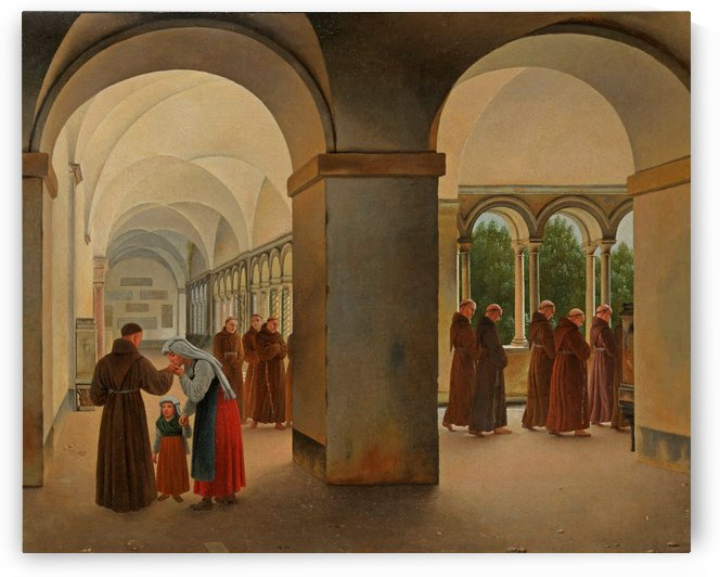 Procession of monks in the cloister of the Basilica San Paolo Fuori le Mura in Rome by Christoffer Wilhelm Eckersberg