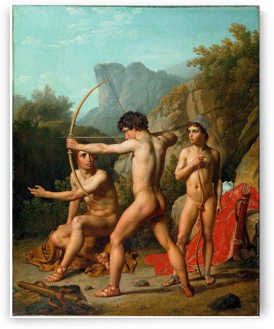 Three Spartan boys practising archery by Christoffer Wilhelm Eckersberg