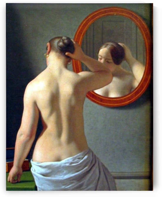Woman in front of a mirror by Christoffer Wilhelm Eckersberg