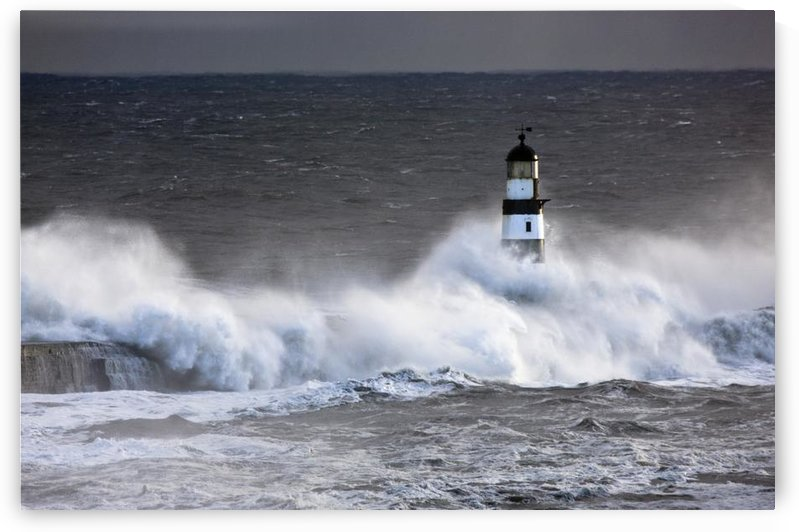 Seaham, Teesside, England; Waves Crashing On Lighthouse by PacificStock