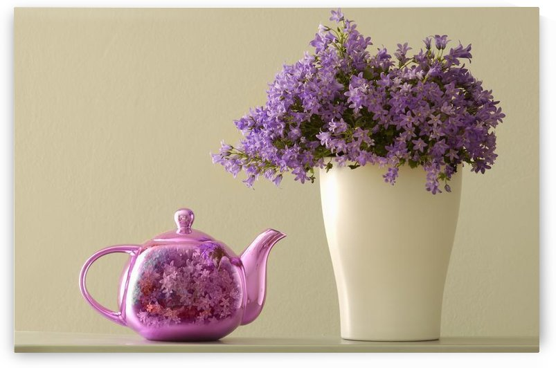 Teapot And Flowers In A Vase by PacificStock