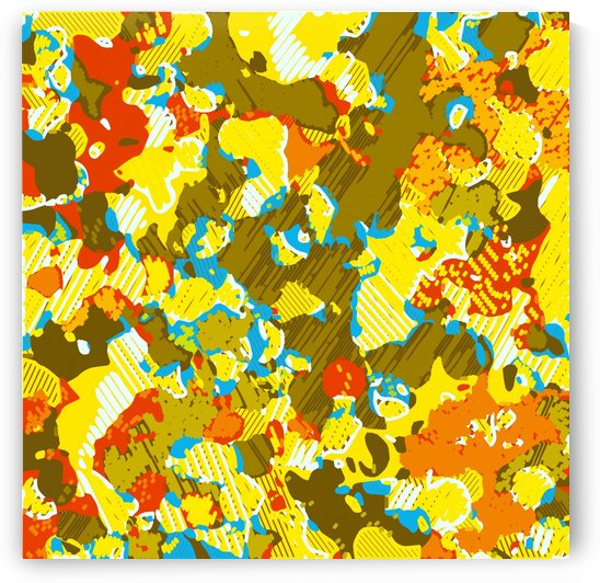 psychedelic graffiti painting abstract in yellow blue brown and red by TimmyLA