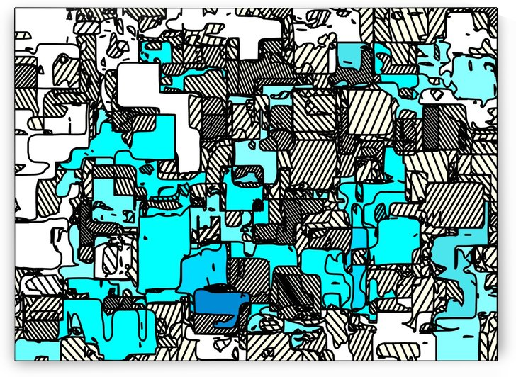 geometric graffiti square pattern abstract in blue white and black by TimmyLA