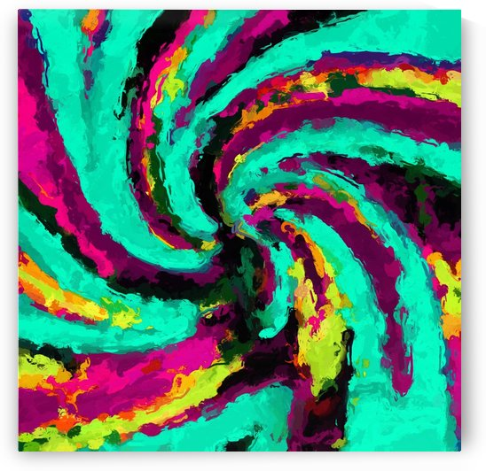 psychedelic graffiti watercolor painting abstract in green blue pink purple and yellow by TimmyLA