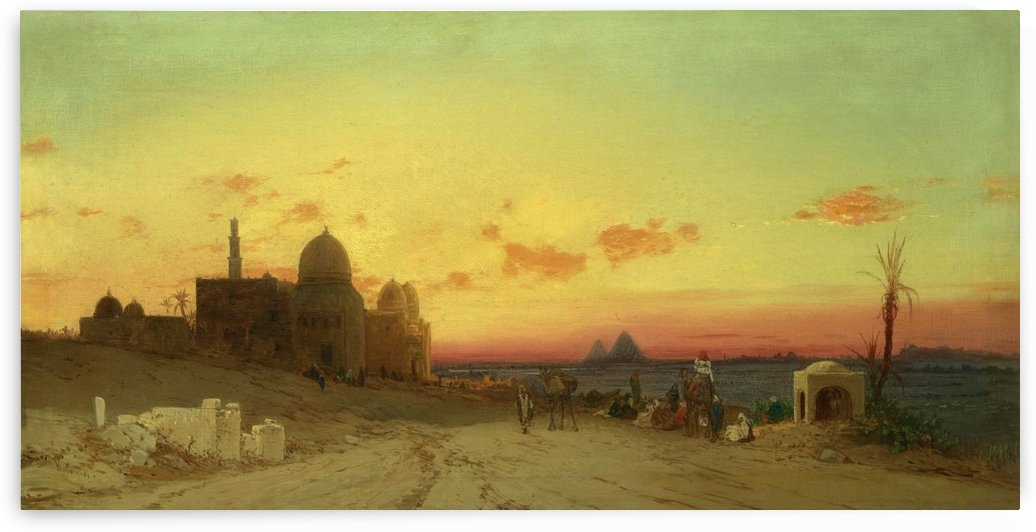 View of the tomb of the caliphs with the pyramids of Giza beyond by Hermann David Salomon Corrodi