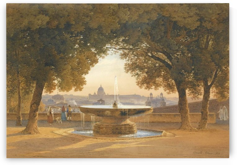 The fountain of villa Medici in Rome at sunset by Hermann David Salomon Corrodi