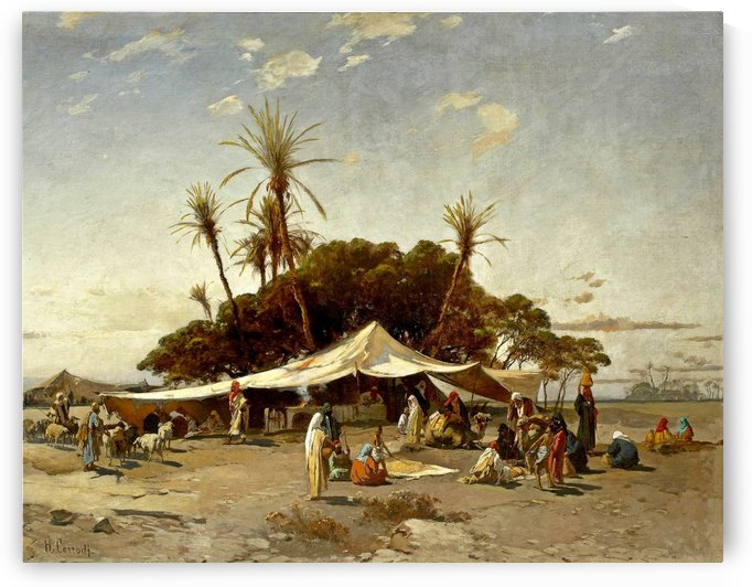 Figures in a market inside an oasis by Hermann David Salomon Corrodi
