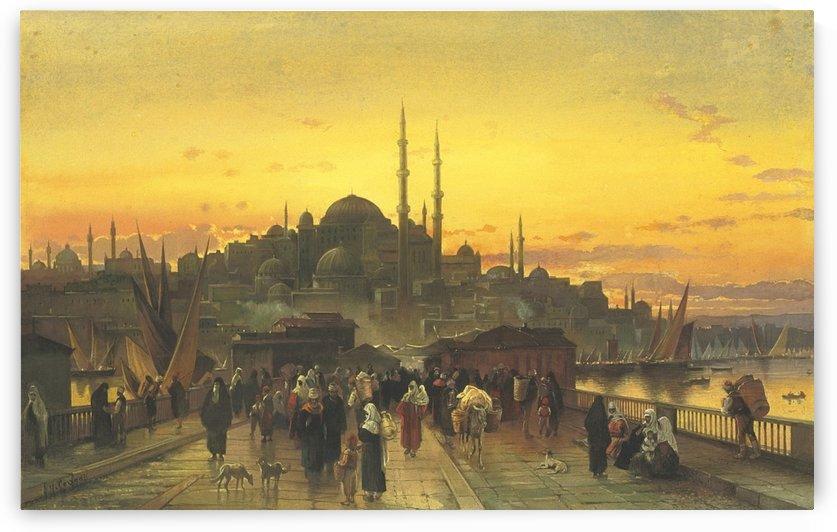 The Golden Horn, Galata Bridge, Constantinople by Hermann David Salomon Corrodi