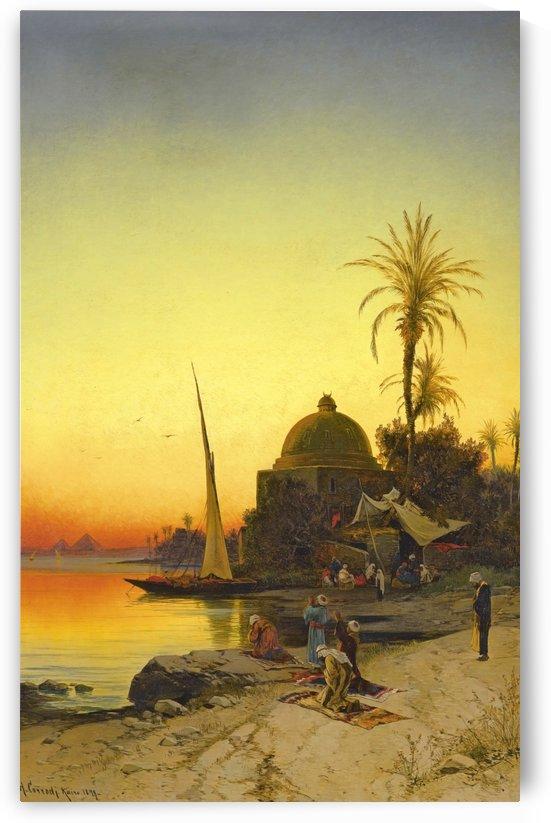 People praying on the banks of the Nile by Hermann David Salomon Corrodi