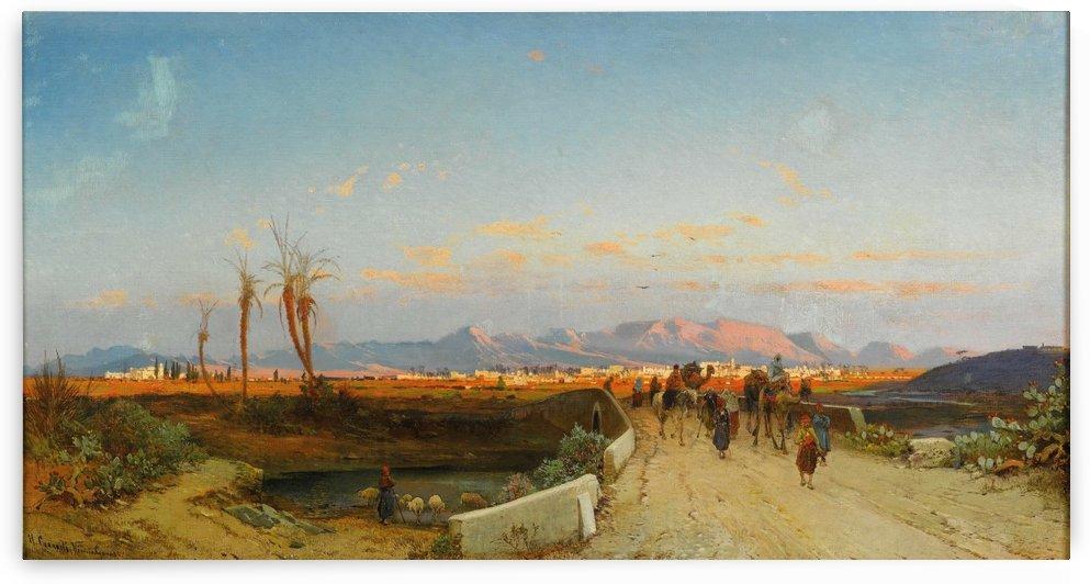 Landscape with figures outside Nicosia by Hermann David Salomon Corrodi