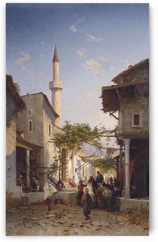 An oriental street scene by Hermann David Salomon Corrodi