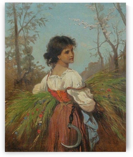 Girl with scythe by Hermann David Salomon Corrodi