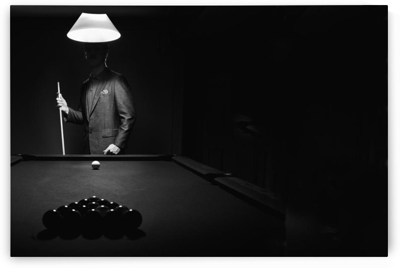 ; Mystery Pool Player Behind Rack Of Billiard Balls by PacificStock
