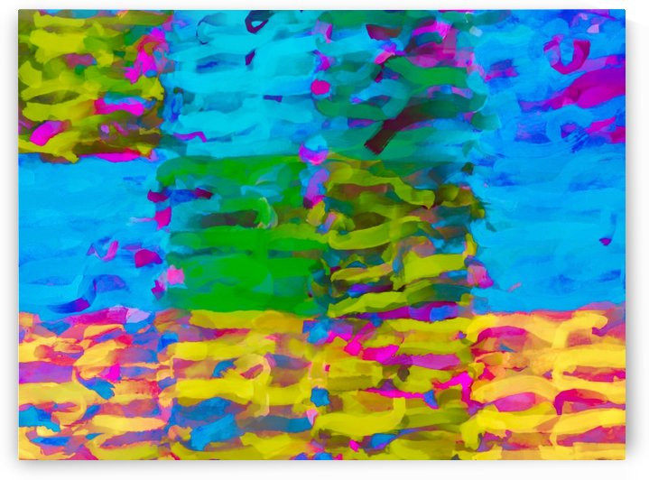 psychedelic graffiti painting abstract in blue yellow green pink by TimmyLA