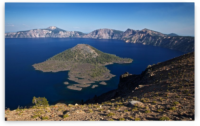 West rim view of Crater Lake overlooking Wizard Island by Craig Nowell Stott