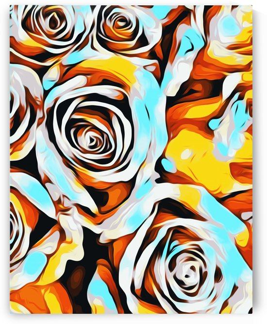 blue orange white and yellow roses texture abstract background by TimmyLA