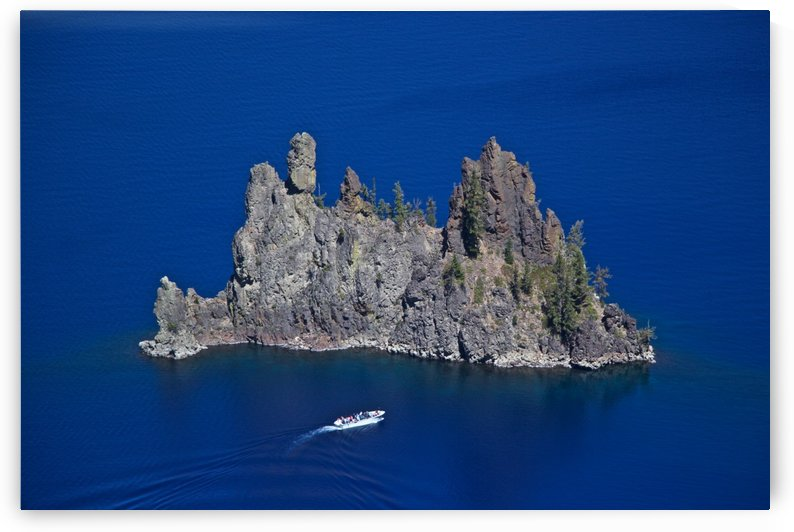 Phantom Ship and tourist boat, Crater Lake National Park    by Craig Nowell Stott